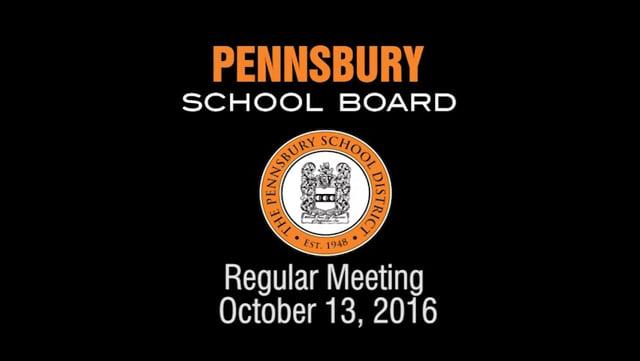 Pennsbury School Board Meeting For October 13, 2016