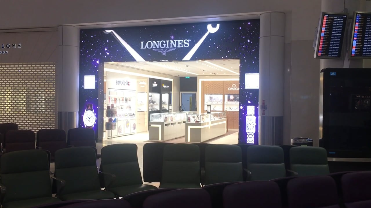 Dynamo LED Displays install LED shop front at London Gatwicks Hour Passion store