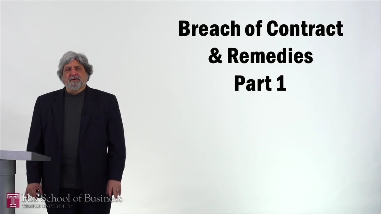 57186Breach of Contract and Remedies I