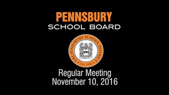 Pennsbury School Board Meeting for November 10, 2016