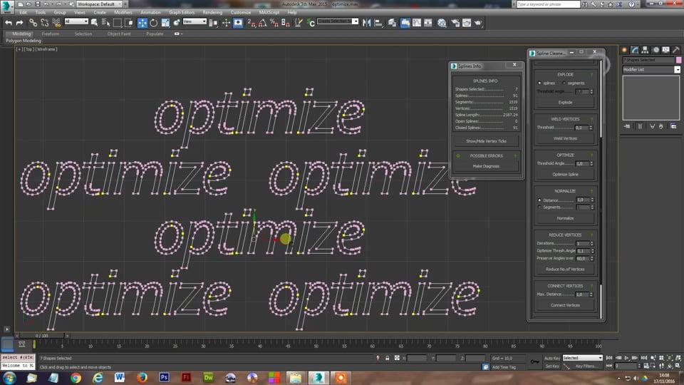Spline Cleaner 3dsmax plugin - Optimize, Normalize, Reduce Vertices