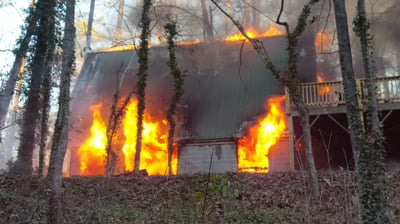 Fire consumes home on Burpees Mill Estate
