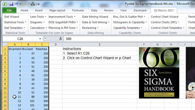 p Chart  pg 325 Six Sigma Handbook 4th Edition Pyzdek & Keller