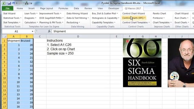np Chart  pg 329 Six Sigma Handbook 4th Edition Pyzdek & Keller