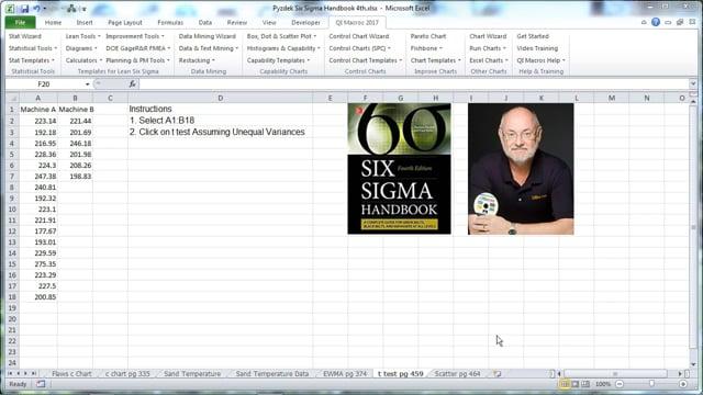 t test pg 459 Six Sigma Handbook 4th Edition Pyzdek & Keller