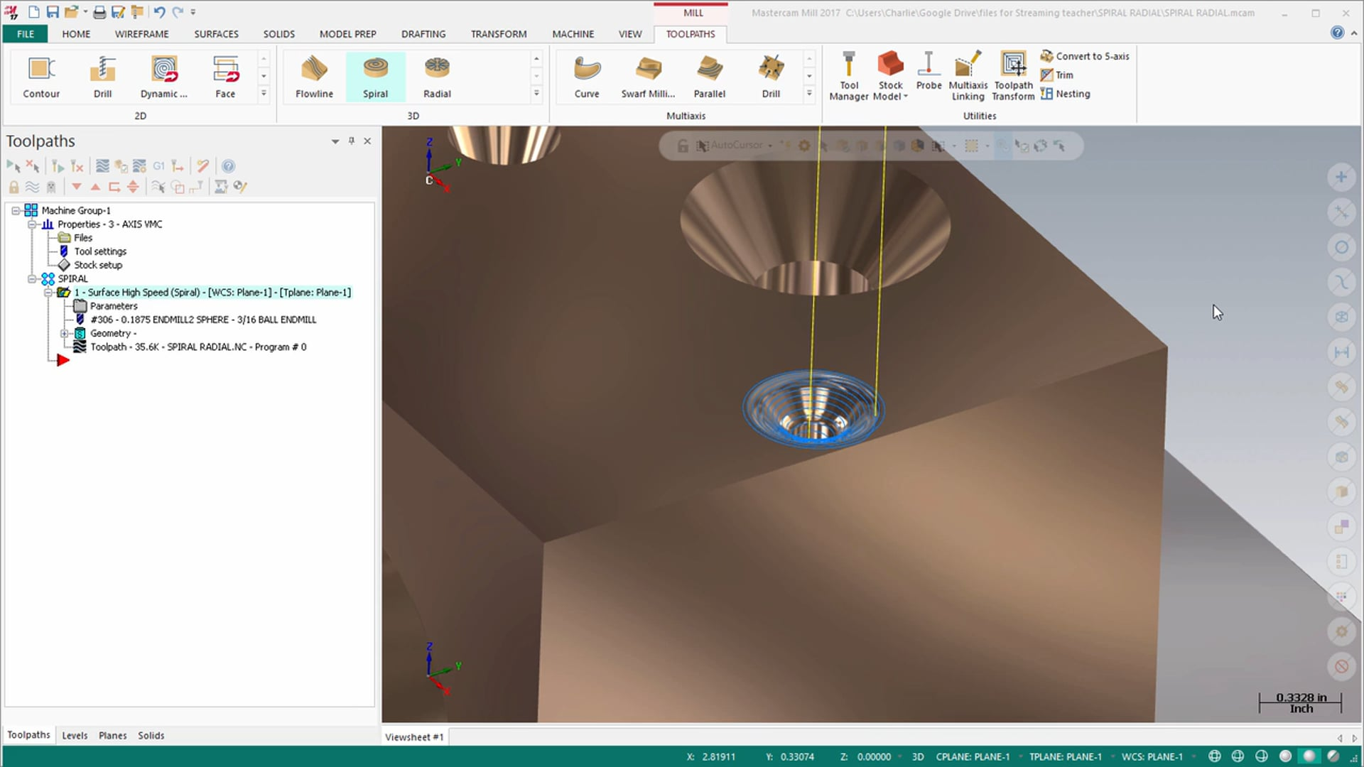 Mill 3D Toolpaths