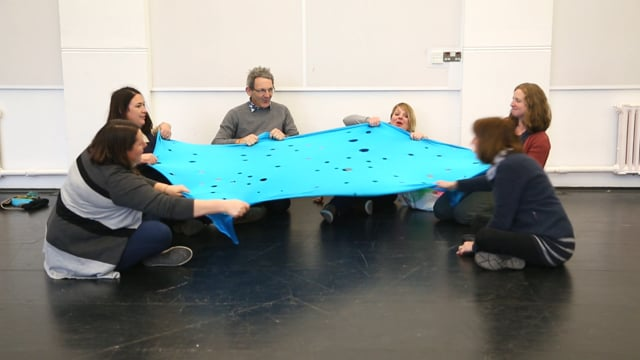 11. Language development – musical play with voice using Lycra