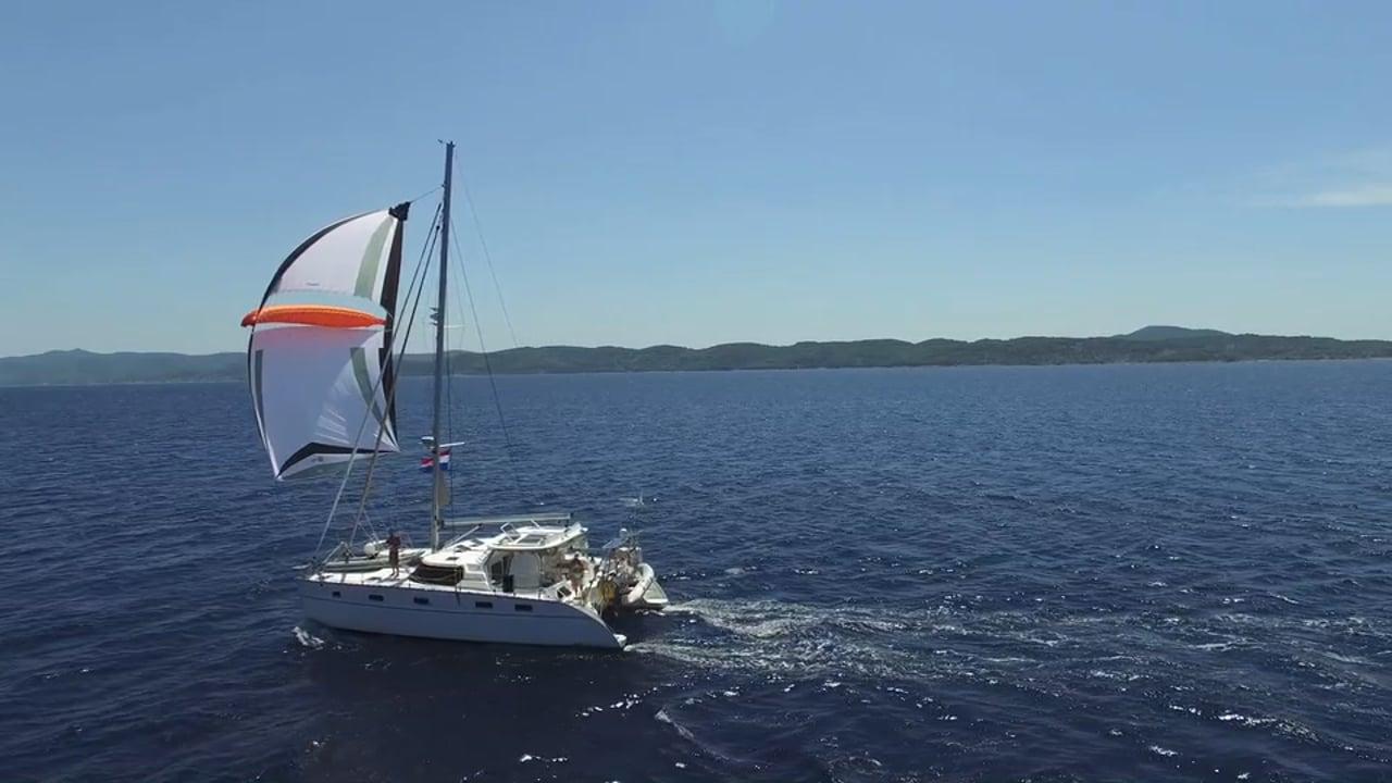 Sailing Golden Glow Catamaran with Parasailor in Croatia