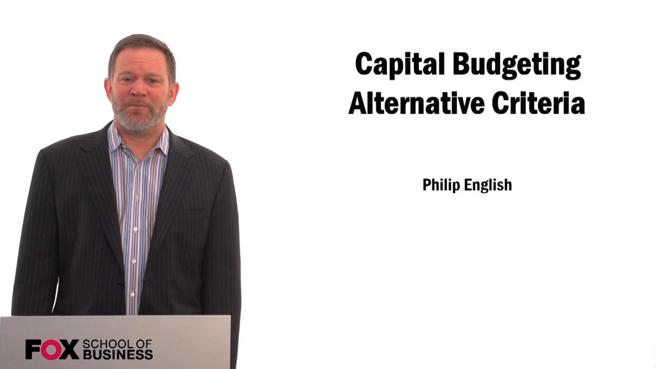 59580Capital Budgeting Alternative Criteria