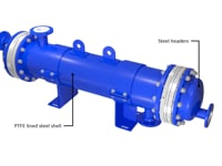 Material alternatives for headers and shell for GAB Neumann's SR SiC shell and tube heat exchangers