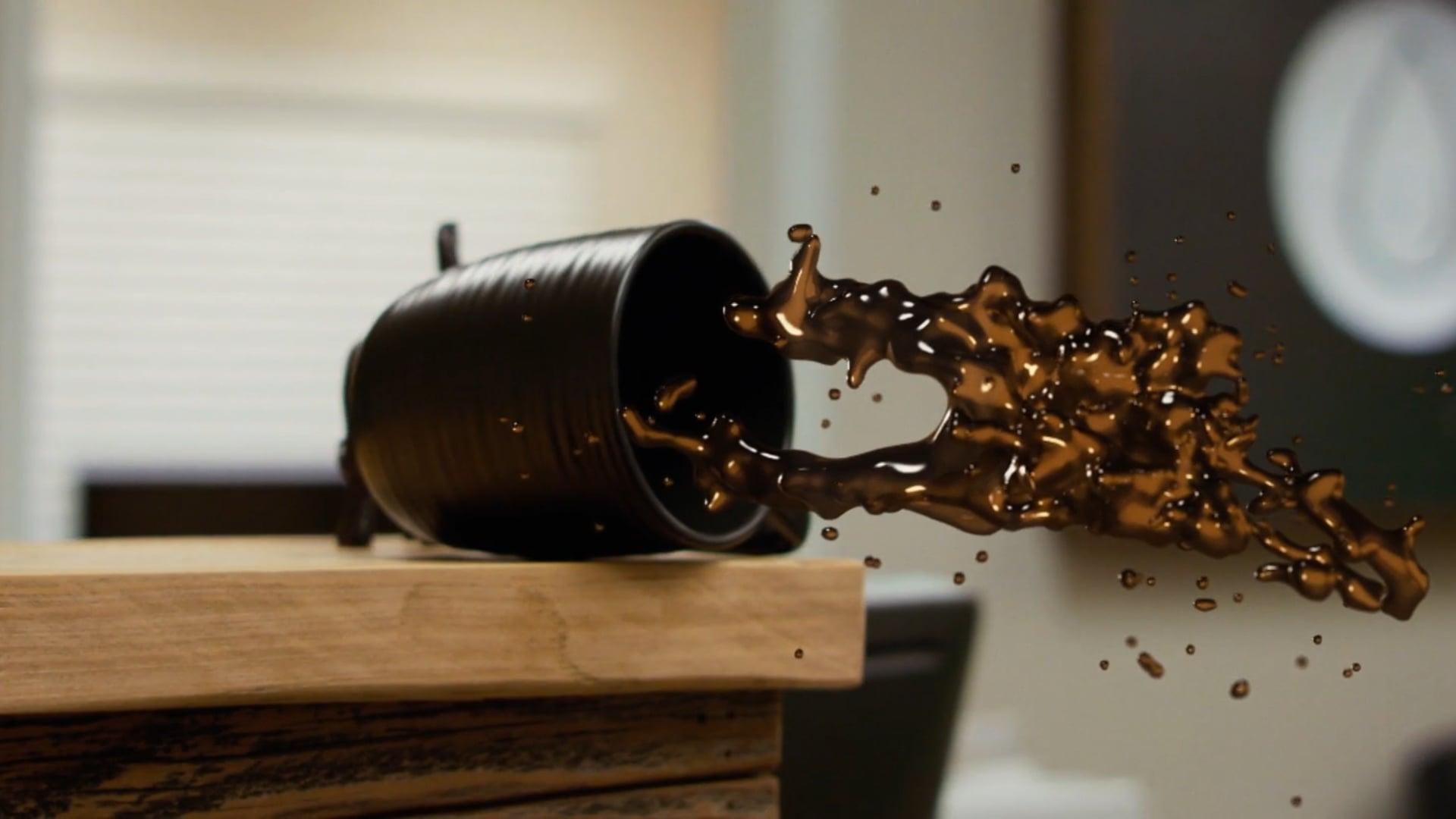 Coffee Spill Element 3D Freeze Scene