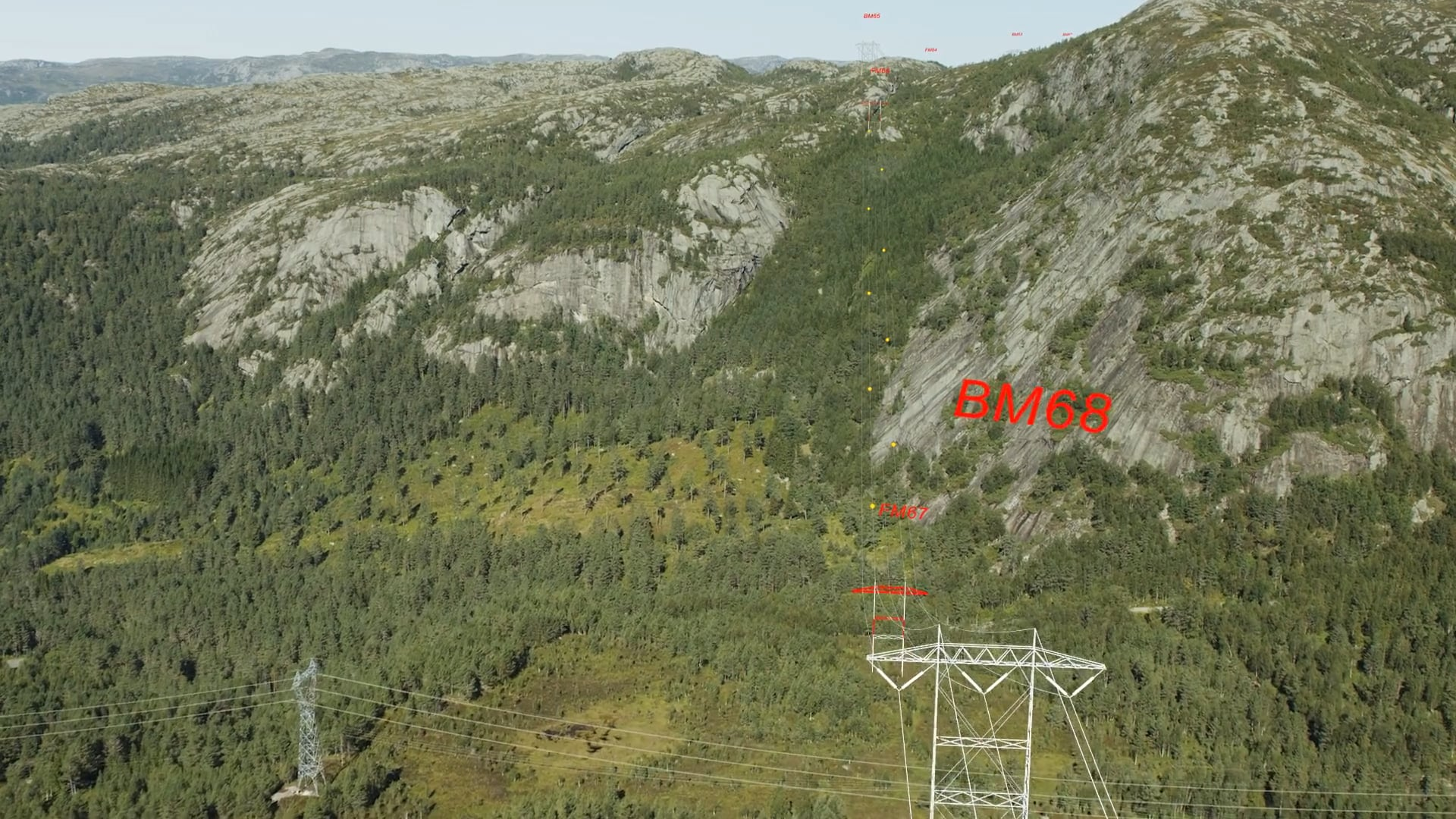 Drone video and 3D tracking high power cable masts