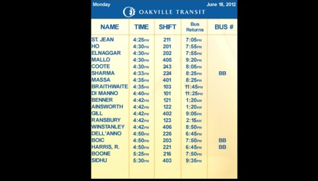 Bus Schedule route for Drivers
