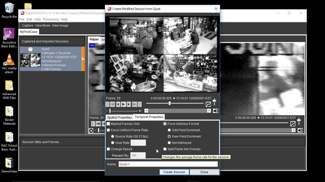 De-Interlacing and Separating Quad-View Videos Using the Modify Tool