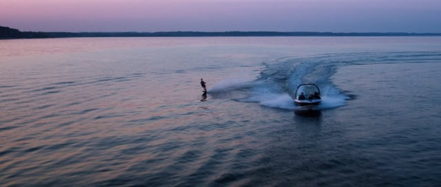Water skiing in the Sunset