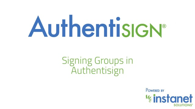 Signing Groups in Authentisign