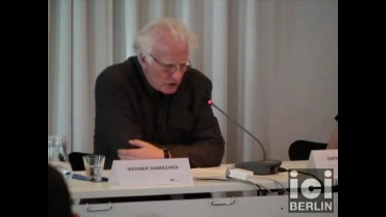 Vortrag Werner Hamacher