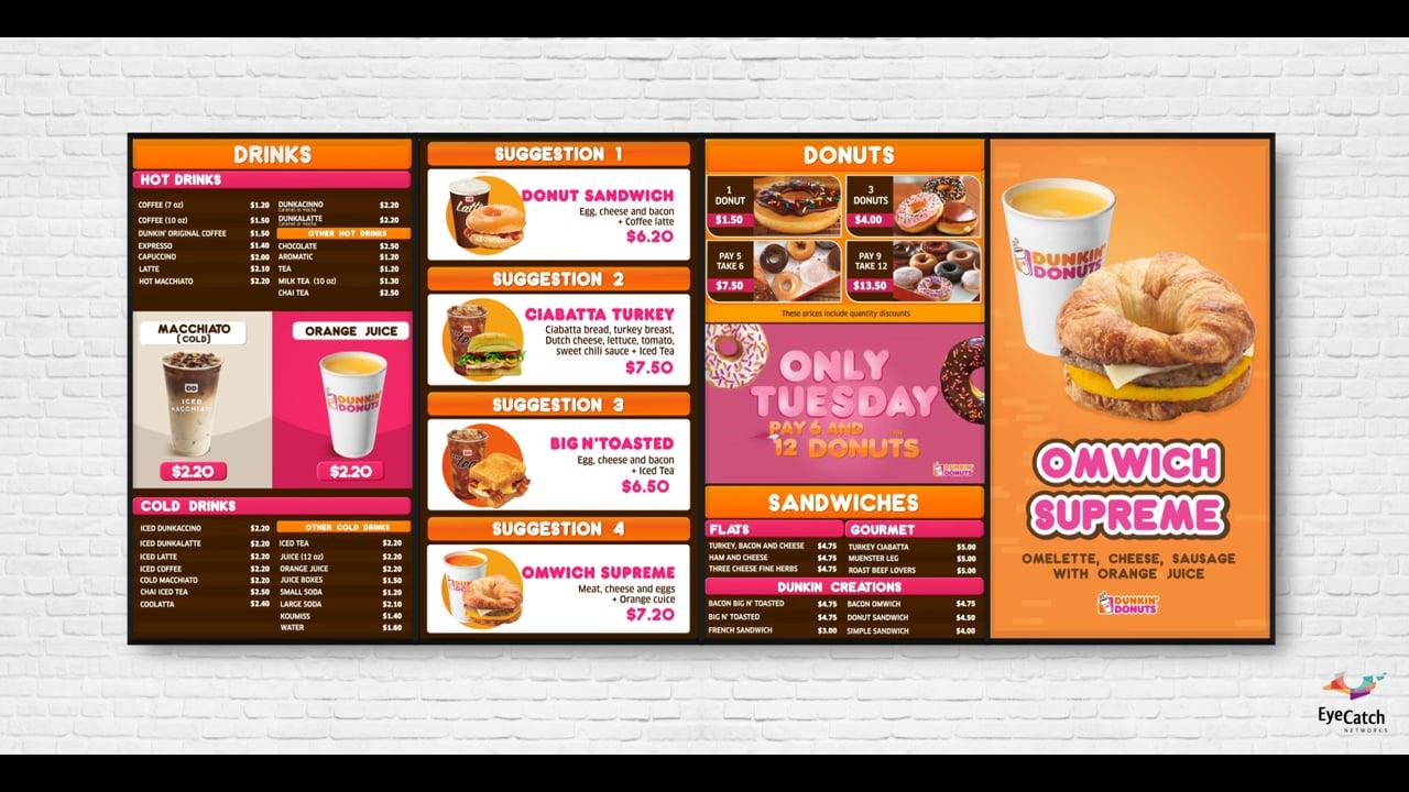 Dunkin Donuts Menu by EyeCatch Networks