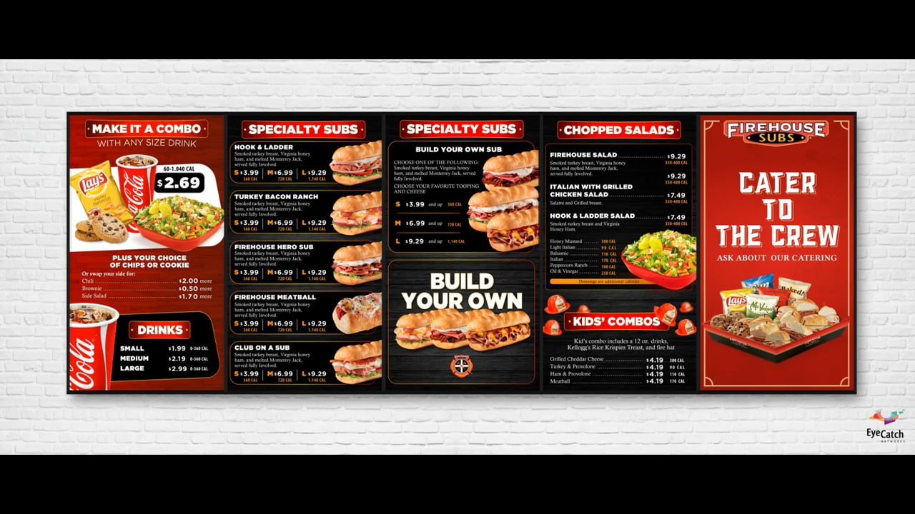Firehouse Subs Digital Menu Boards by EyeCatch Networks
