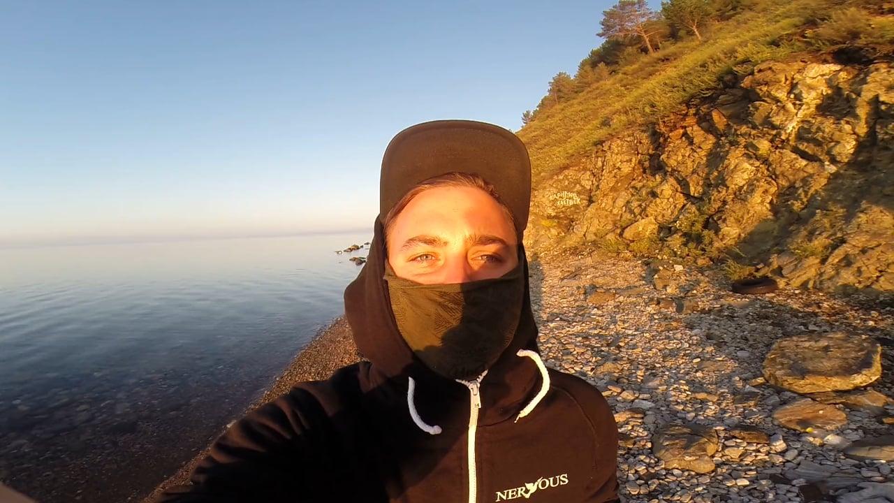 Early morning on Lake Baikal. Bivak in Siberia.