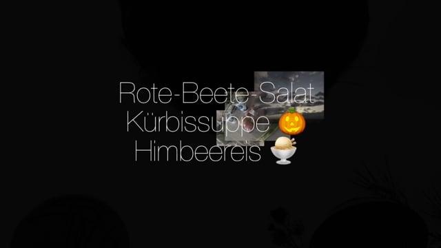 Kochgruppe mit Rote-Beete-Salat Kürbissuppe Himbeereis