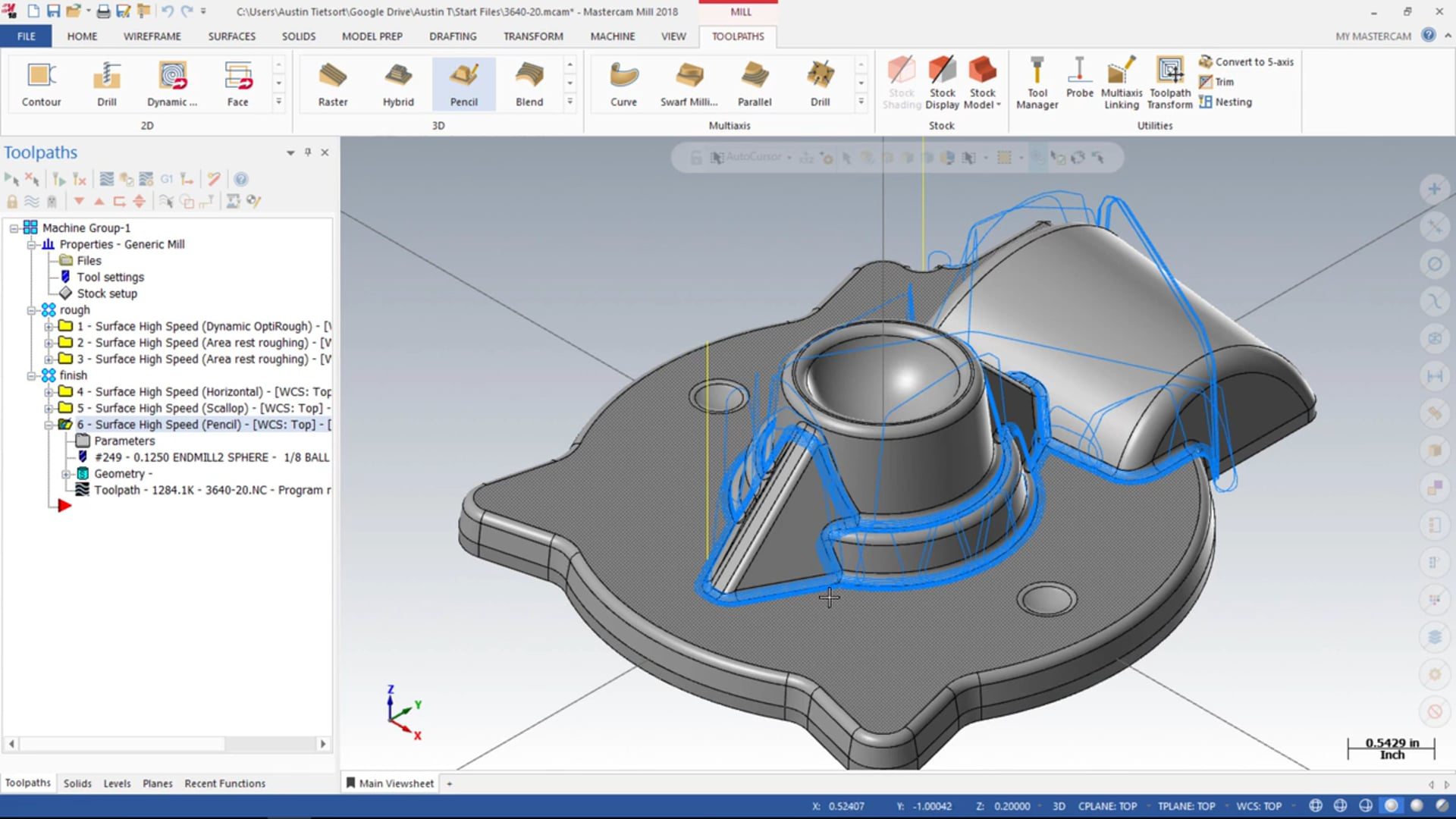 3D Mill Finishing Toolpaths