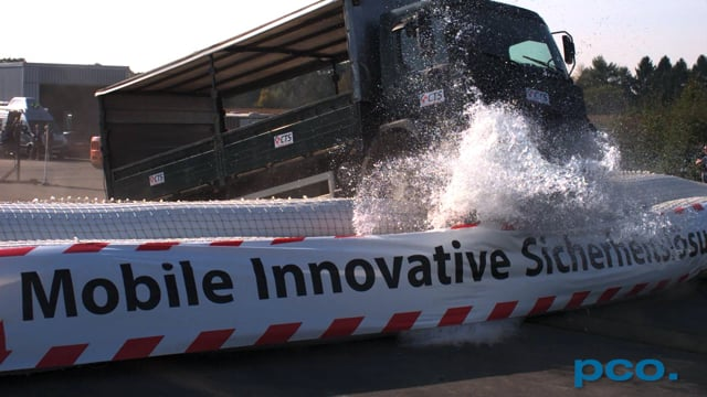CTS Anti-Terror Tests - Truck hits a special water filled barrier