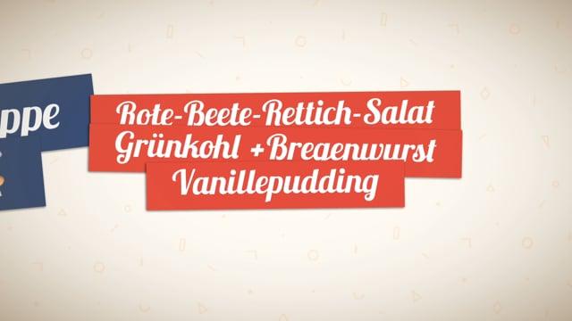 Kochgruppe mit Rote-Beete-Rettich-Salat - Grünkohl mit Bregenwurst - Dessert Vanillepudding