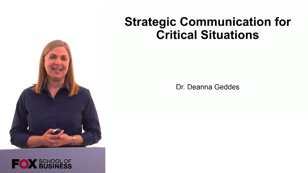 60179Strategic Communication for Critical Situations