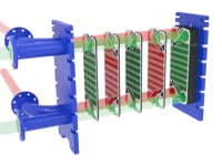 Media flows inside a SP type silicon carbide plate heat exchanger