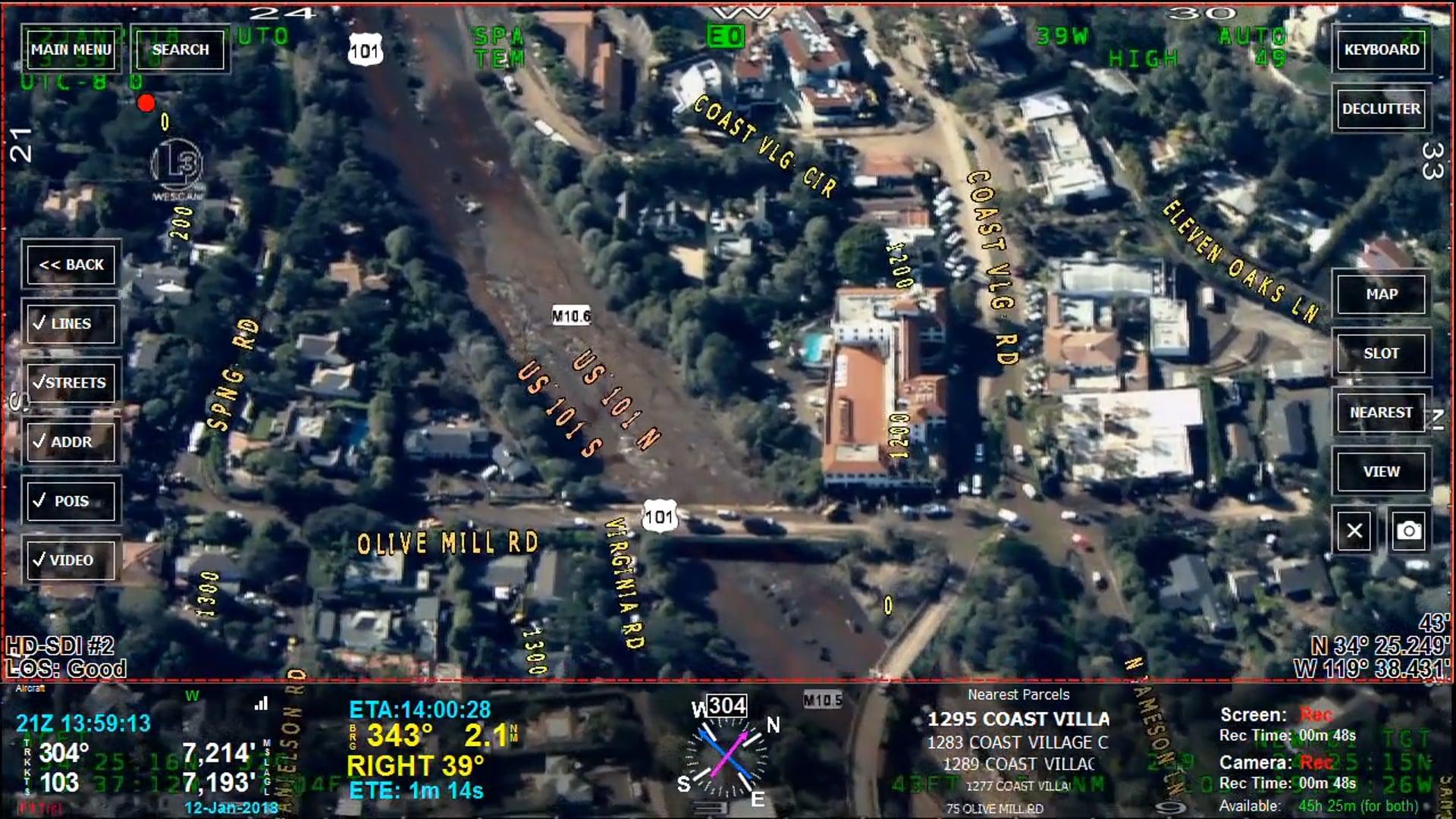 Montecito Flood Damage 01-12-2018 (Plus SpaceX Launch)
