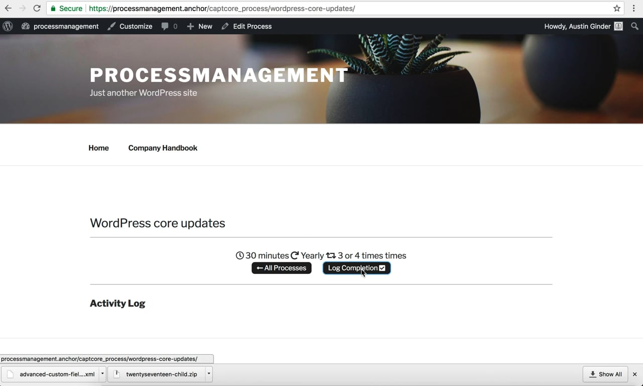 Process Management System example