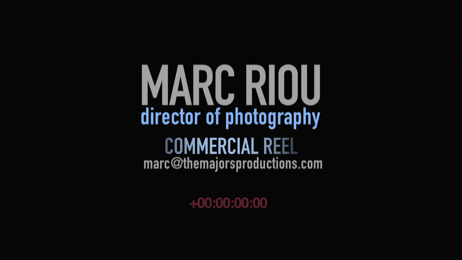 Commercial Cinematography Reel