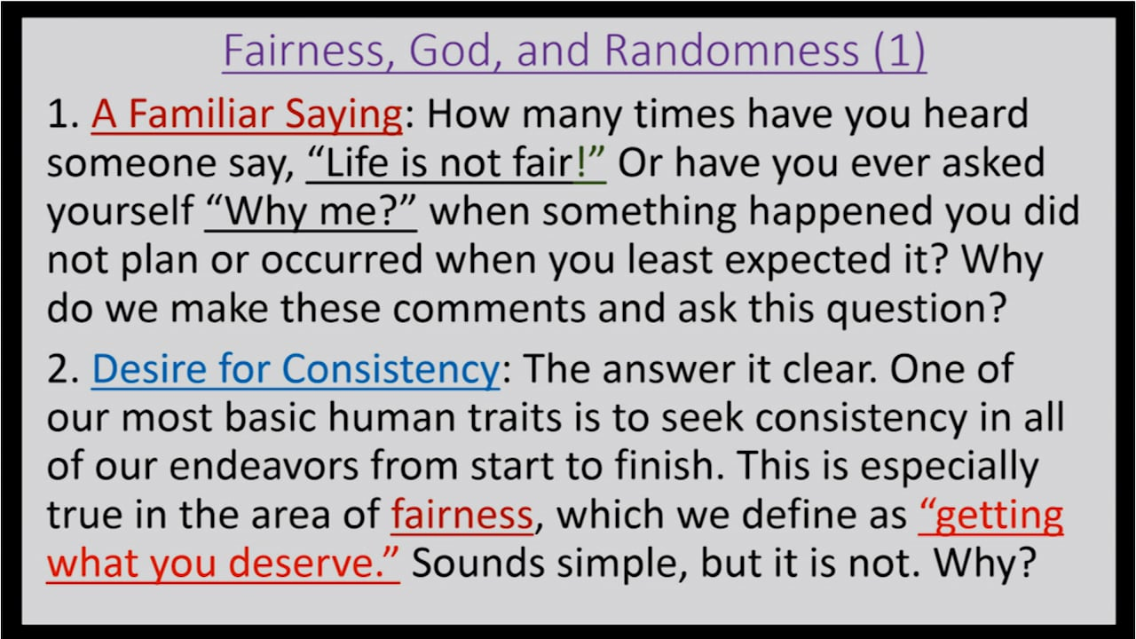 God and Fairness in the Midst of Randomness