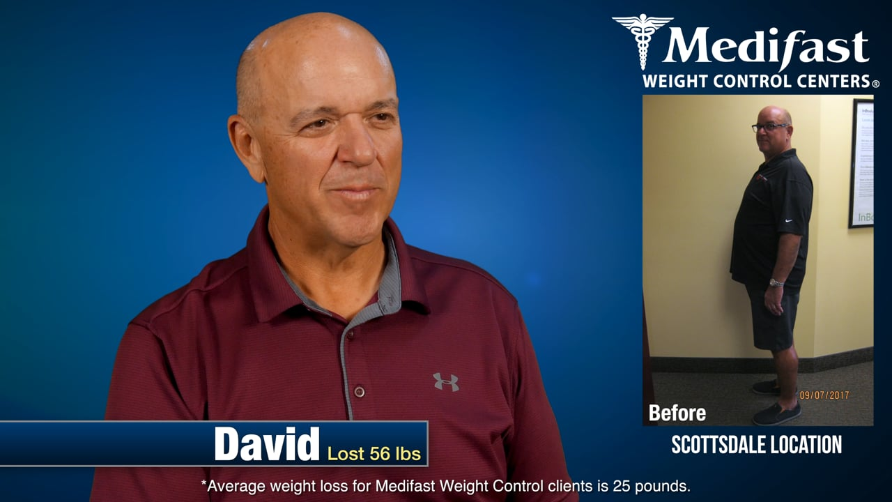 David lost close to 60 lbs at Arizona Medifast Weight Control Centers
