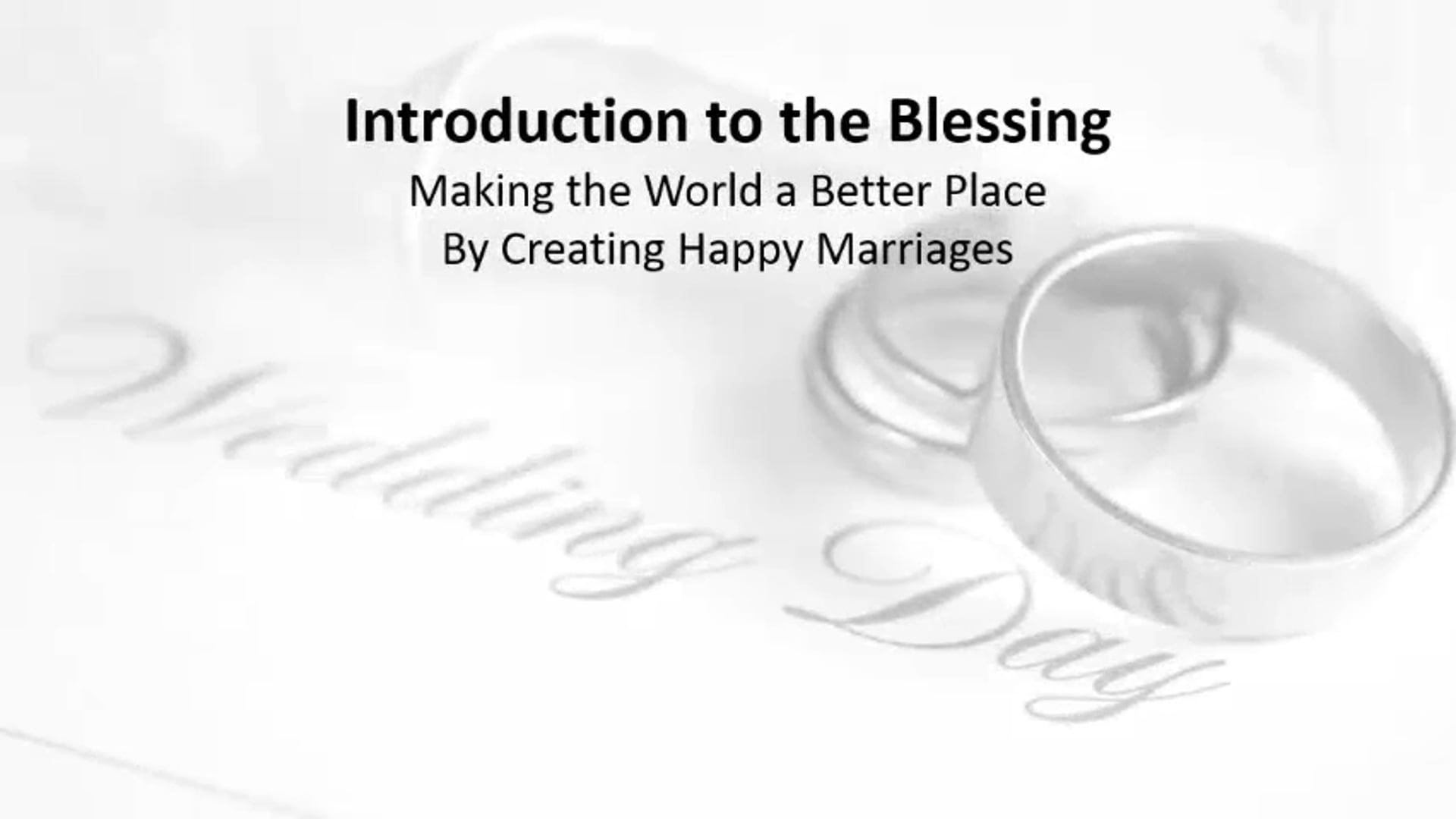An Introduction to the Blessing