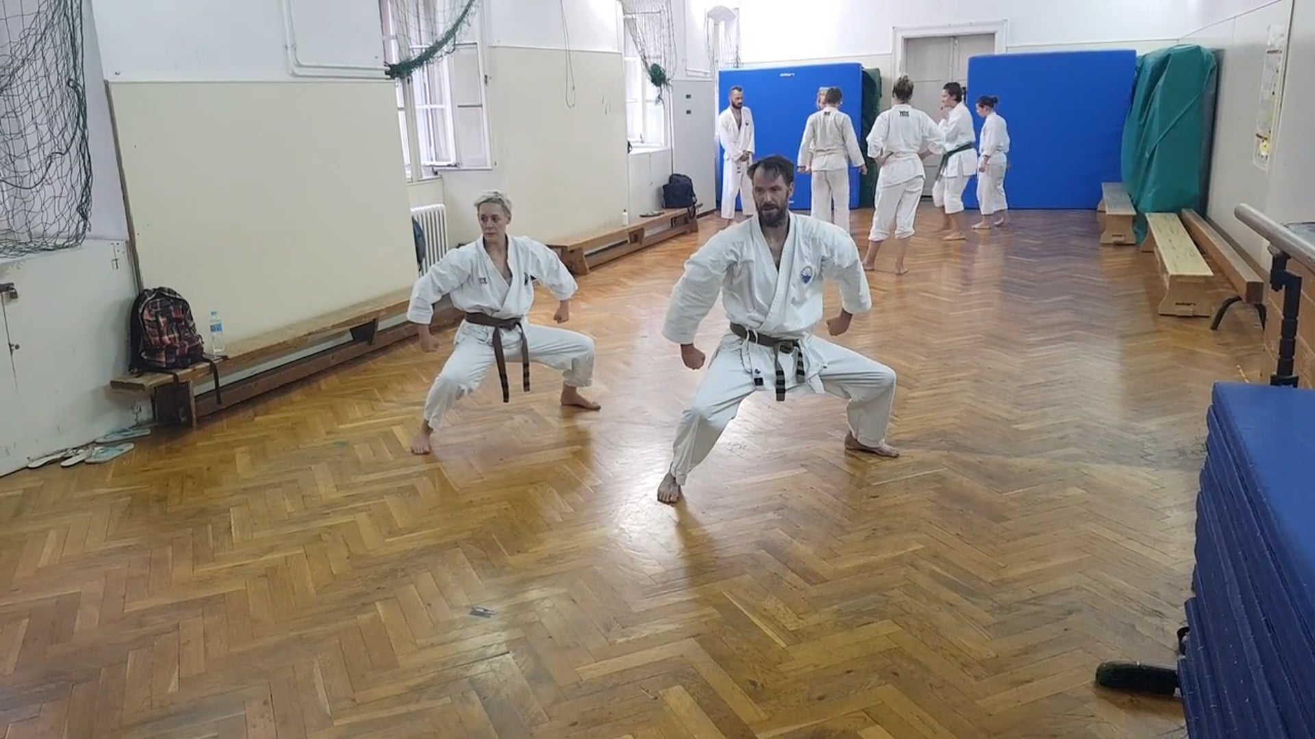 """Two Sempai doing """"Distant Burning Conflict"""" or Seienchin Kata"""