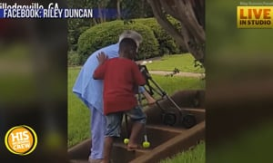 8 Year Old Stops to Help Elderly Neighbor Up Stairs