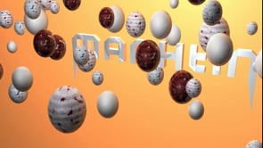 motion graphics assignment name interacts with a sphere.