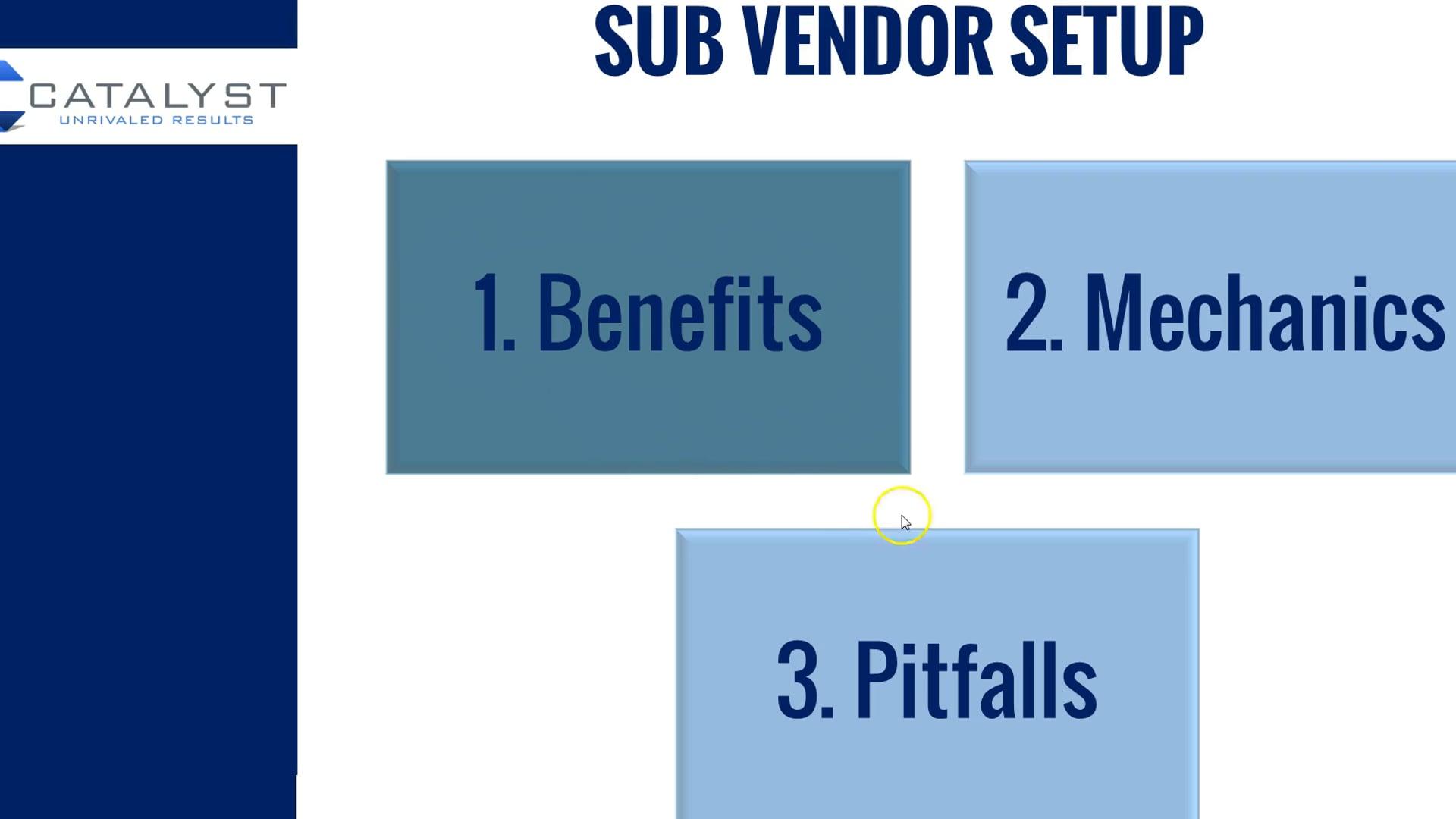 SV 1 - Introduction to Sub Vendors Part 1