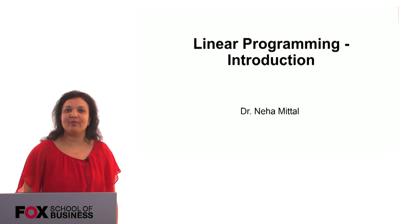 60812Linear Programming – Introduction