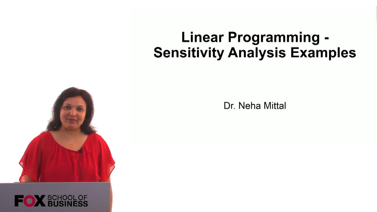60810Linear Programming – Sensitivity Analysis Examples