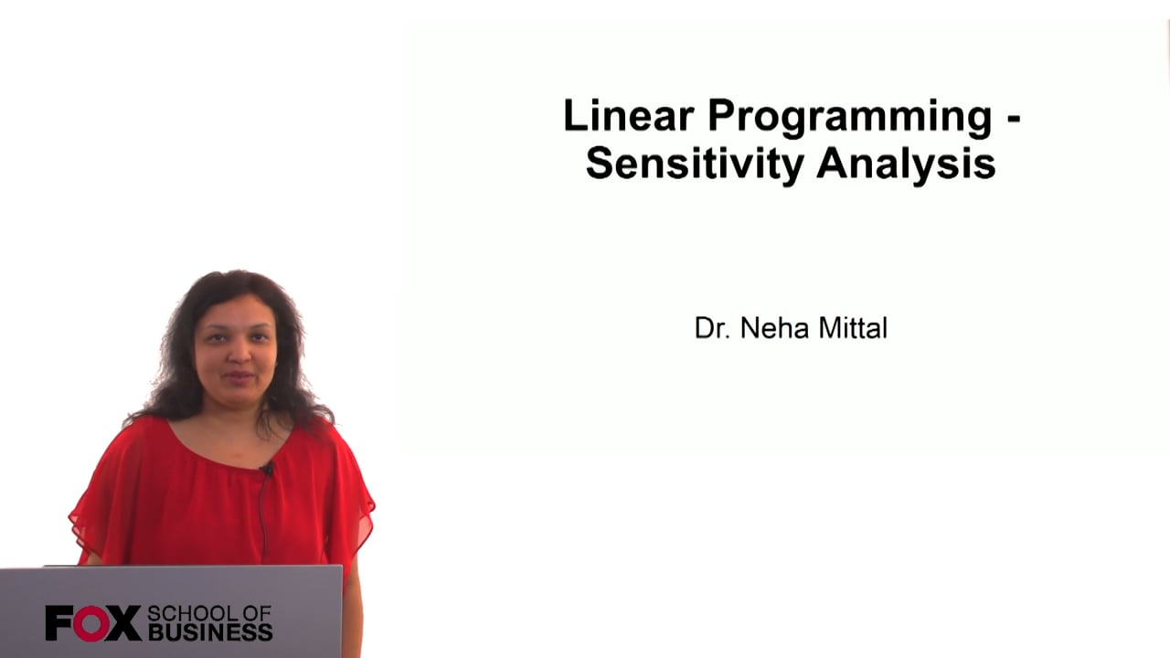 60808Linear Programming – Sensitivity Analysis