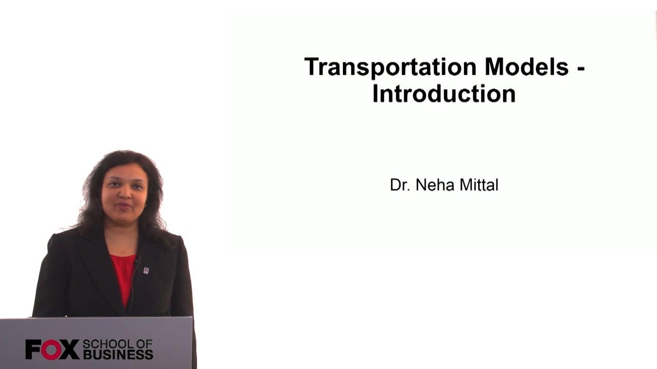 60758Transportation Models – Introduction