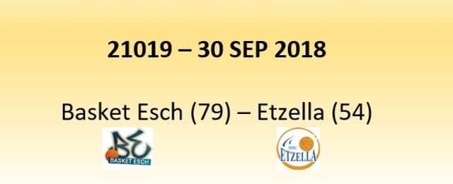 N1D 21019 Basket Esch (79) - Etzella Ettelbreck (54) 30/09/2018