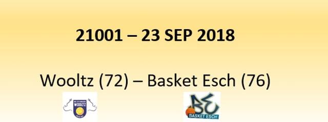 N1D 21001 Les Sangliers Wiltz (72) - Basket Esch (76) 23/09/2018