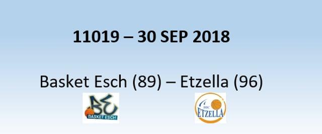 N1H 11019 Basket Esch (89) - Etzella Ettelbreck (96) 30/09/2018