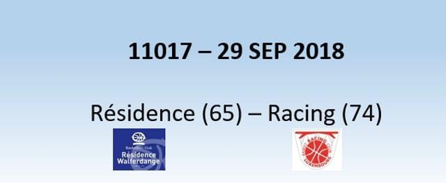 N1H 11017 Résidence (65) - Racing (74) 29/09/2018
