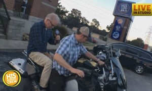 Will Graham Takes Jim Mann for a Spin on His Motorcycle