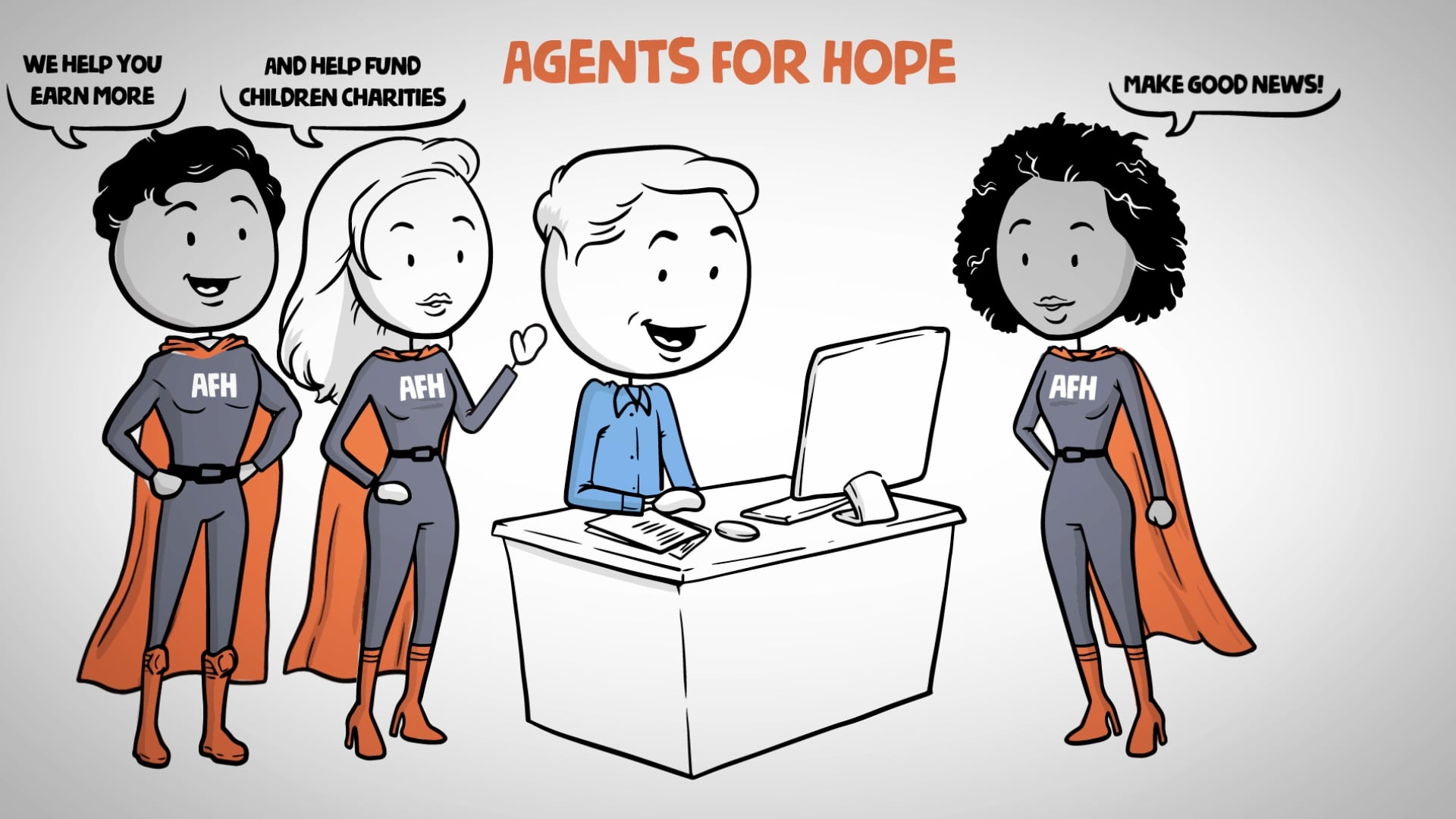 Whiteboard video for Agents For Hope